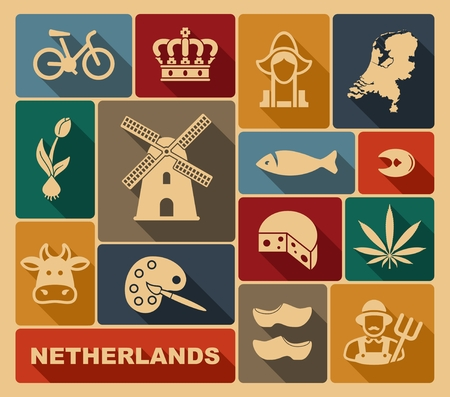 Traditional symbols of the Netherlands. Vector icons