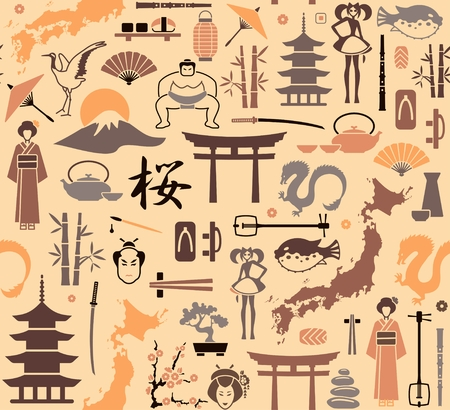 Seamless background on a theme of Japan. Vector illustration