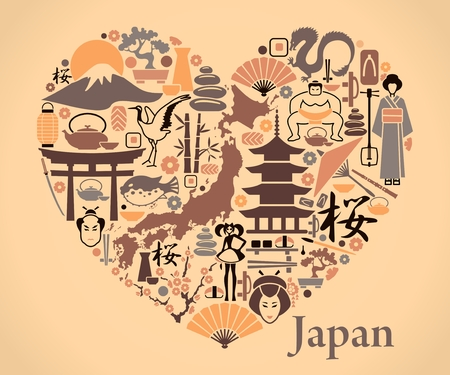 Traditional symbols of Japan in the form of a heart