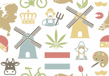 Seamless pattern on the theme of the Netherlands. Vector illustration