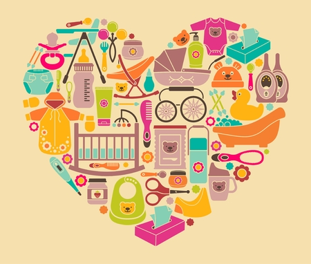 Icons of products for babies in the form of a heart. Clothes, food, cosmetics and equipment for newborn care