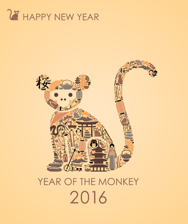 Oriental symbols in the form of a monkey, a symbol of 2016