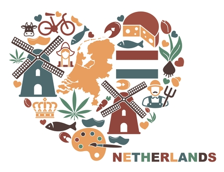 The symbols of the Netherlands in the shape of a heart.Vector illustration Illustration