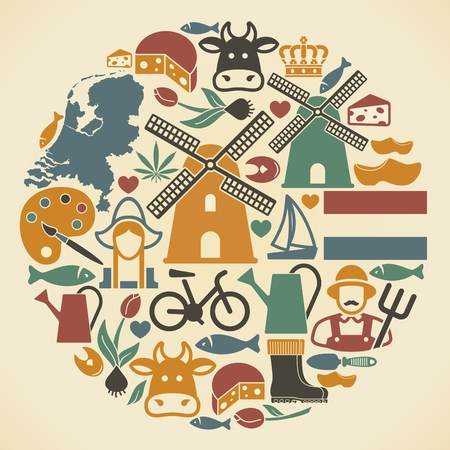 The symbols of the Netherlands in the shape of a circle. Vector illustration