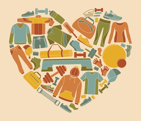 Equipment, clothing and accessories for sports and fitness in the shape of a heart.