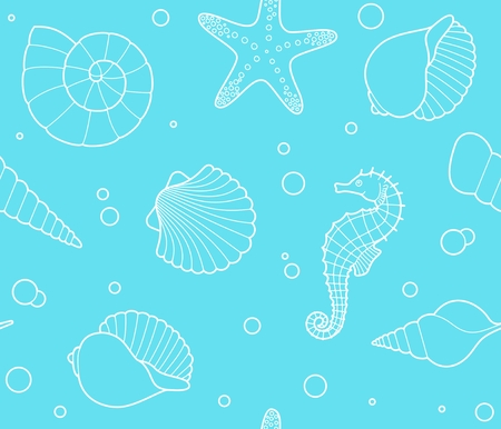 Seamless pattern with shells, seahorses, starfish and bubbles
