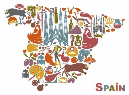 Traditional symbols of Spain in the form of a map.