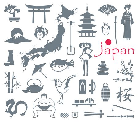 Traditional symbols of Japan. Flat icons. Vector illustration