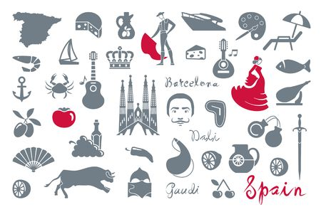 Traditional symbols of culture and sights of Spain Stock Illustratie