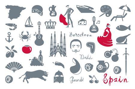 Traditionele symbolen van cultuur en bezienswaardigheden van Spanje