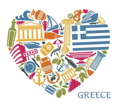 Traditional symbols of Greece in the form of heart