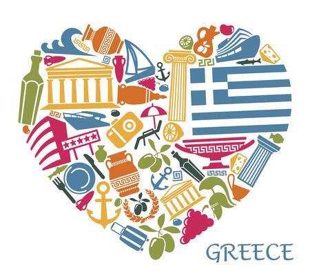 Traditionelle Symbole Griechenlands in Form von Herzen Vektorgrafik