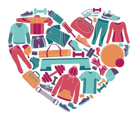 Equipment, clothing and accessories for sports and fitness in the shape of a heart Illustration