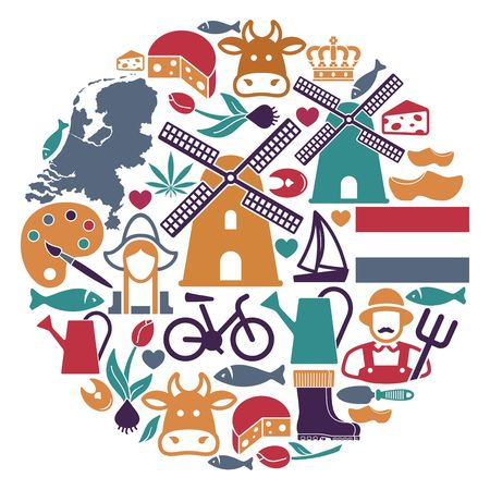 The symbols of the Netherlands in the shape of a circle