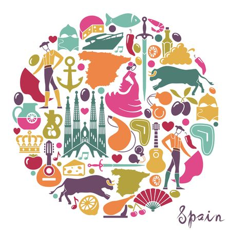 Traditional symbols of Spain in form circle Stock Illustratie