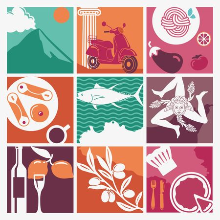 Traditional symbols of nature, cuisine and culture of Sicily. Set of icons Illustration