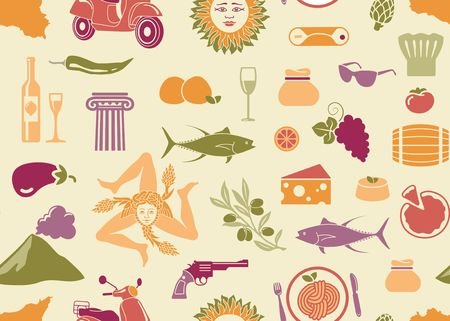 Seamless background with traditional symbols of culture, nature and cuisine of Sicily Illustration