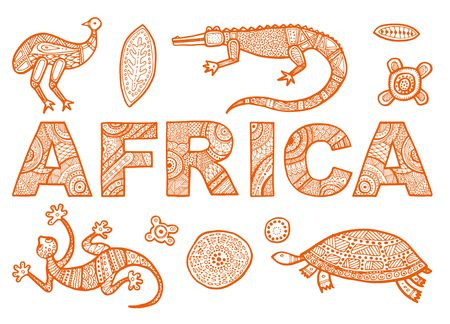 The inscription of AFRICA in ethnic style and outline of African animals Ilustração