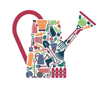 Garden tools, the equipment and symbols in the form of a watering can Illustration