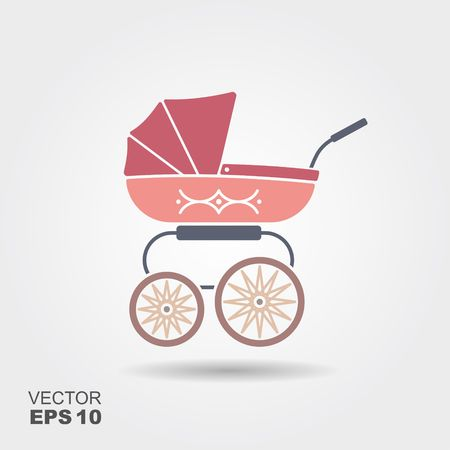 Pink baby pram icon Vectores