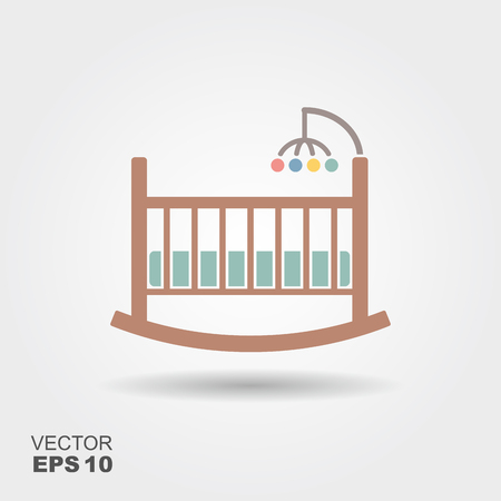 Baby cradle bed icon.