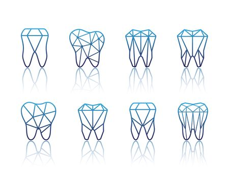 Tooth icon set vector illustration for dental clinic branding with teeth in modern style, polygonal low poly in blue and white.