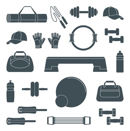 Accessories for fitness. Silhouette icons. Vector Illustration Illustration
