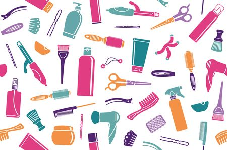 Seamless background from hairdressers accessories. Vector illustration Vectores