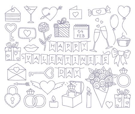 Set of valentines day doodle icon set