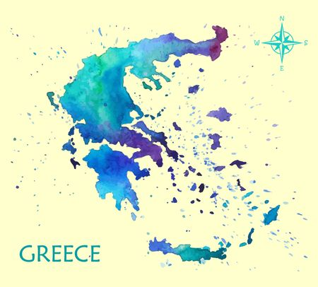 Hand drawn watercolor map Greece
