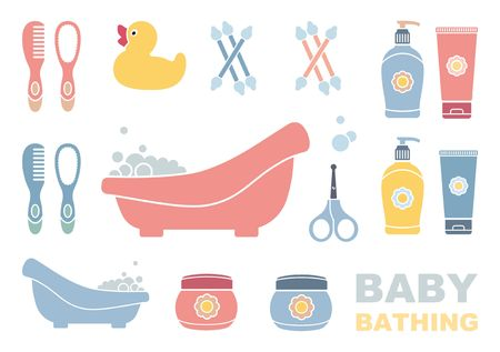 Baby bathing and care icons