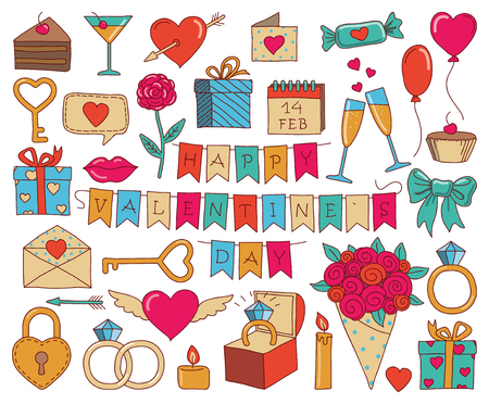 Set of valentines day doodle icon set isolated on white, hand drawn vector illustration Vettoriali