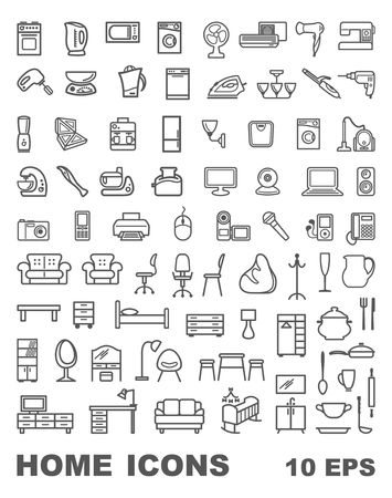 Furniture, home appliances and household items. Linear icons