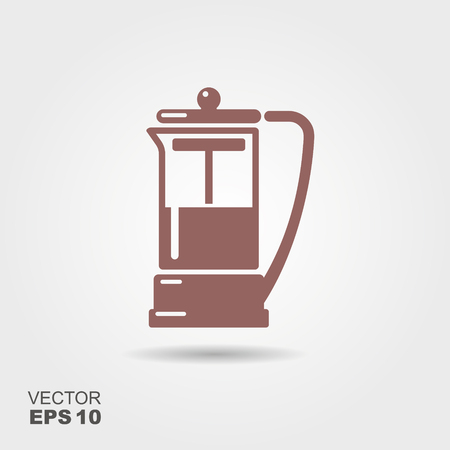 The French press coffee. Flat vector icon
