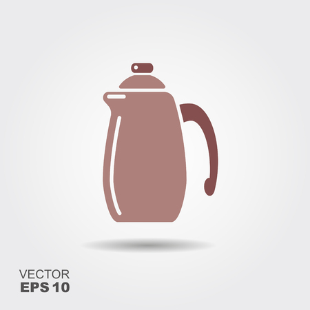 Vector illustration with coffee pot. Flat icon