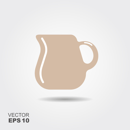 Small milk pitcher icon. Flat vector illustration Ilustração