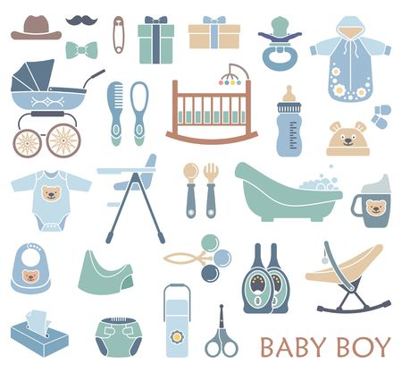 Vector icons on the theme of the newborn boy
