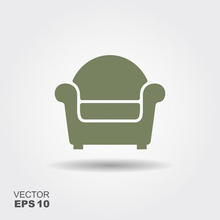 Chair Illustration. Flat vector icon with shadow