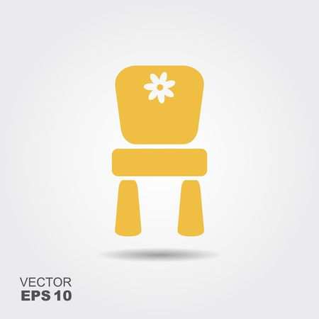 Chair for children. Flat vector icon with shadow Stock Illustratie