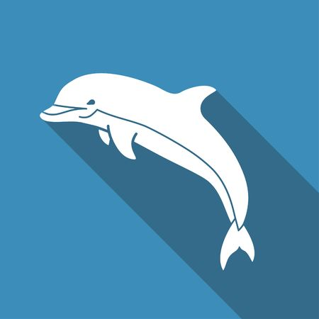 Silhouette of a Dolphin. Flat vector icon with long shadow