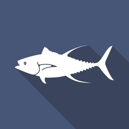 Tuna Fish vector illustration in flat style. Seafood product design. Illustration