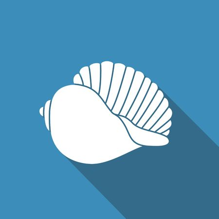 Silhouette of seashells. Flat vector icon with shadow