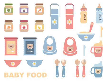Baby feeding - flat icon set. Vector iilustration Illustration