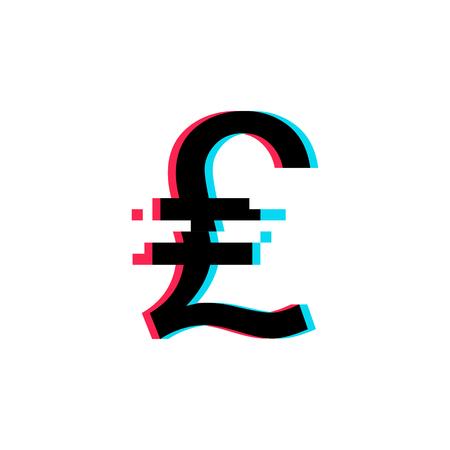 Turkish lira symbol. Vector icon with glitch effect