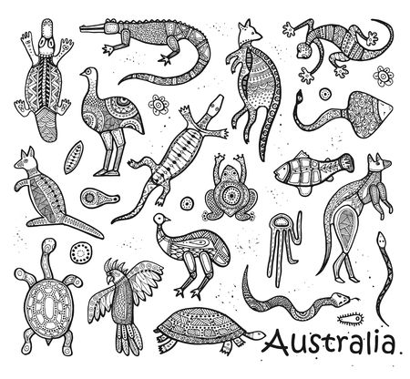 Animals Of Australia. Sketches in the style of Australian aborigines Ilustração