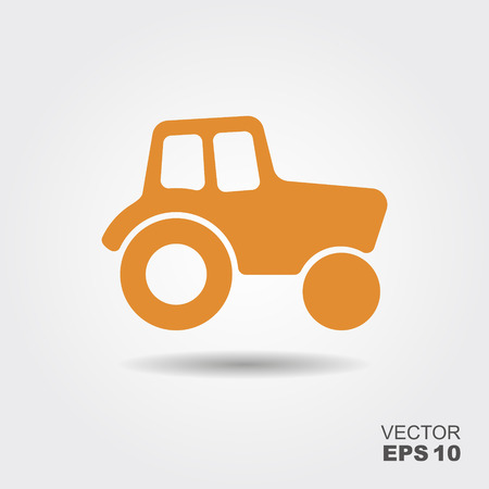 Tractor Icon. Vector Illustration in flat style Vettoriali