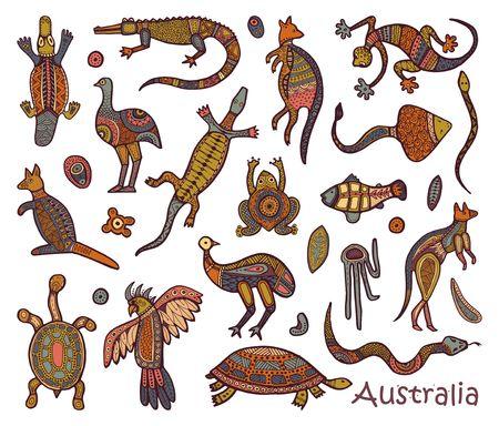 Animals Of Australia. Sketches in the style of Australian aborigines Stock Illustratie