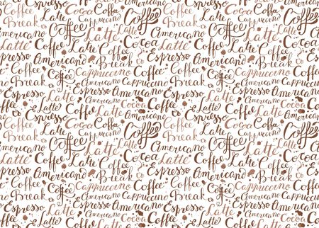 Seamless background with words on the theme of coffee and drops