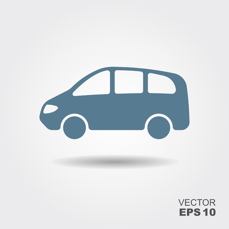 Car icon vector. Simple car sign with shadow.