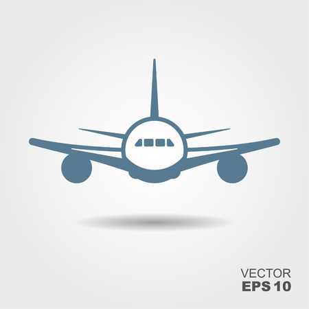 Plane icon in flat design style. Vector illustration